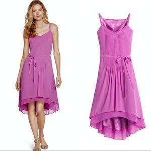 WHBM raspberry pleated Hi low DRESS